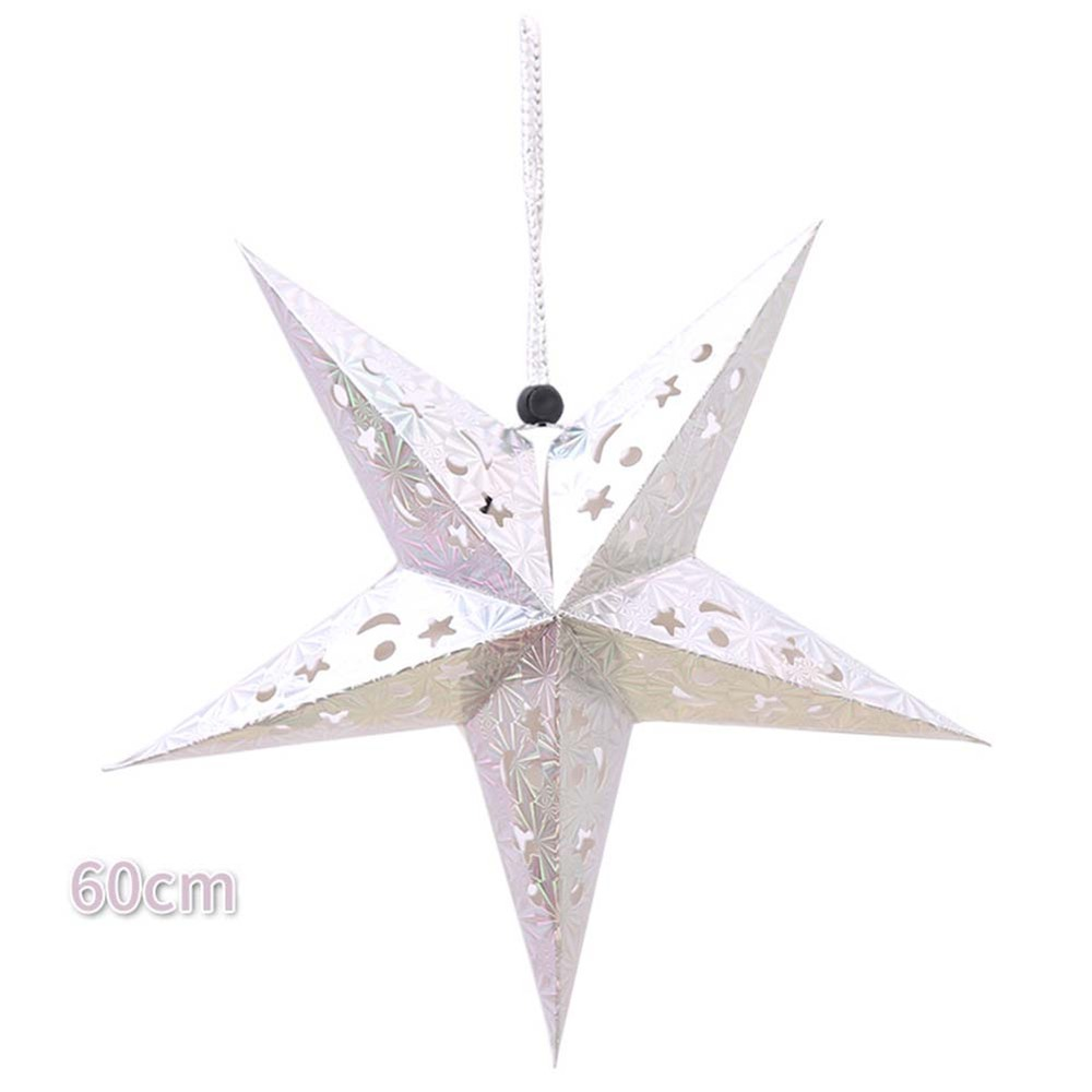 Three-dimensional laser Christmas five-pointed star ceiling ornaments paper five-star decoration