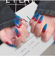24 шт/компл искусственные ногти в стиле панк с рисунком огня