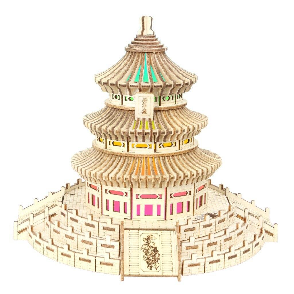 Xin Горячая продажа Tiantan красочные огни Деревянные 3D головоломки модель головоломки для взрослых архитектурная модель