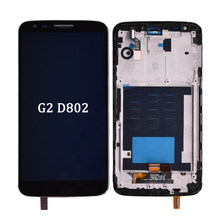 Originale Per lg G2 D802 Display LCD Touch screen + Digitizer Assembly con cornice in bianco e Nero lcd senza cornice per G2 D802(China)