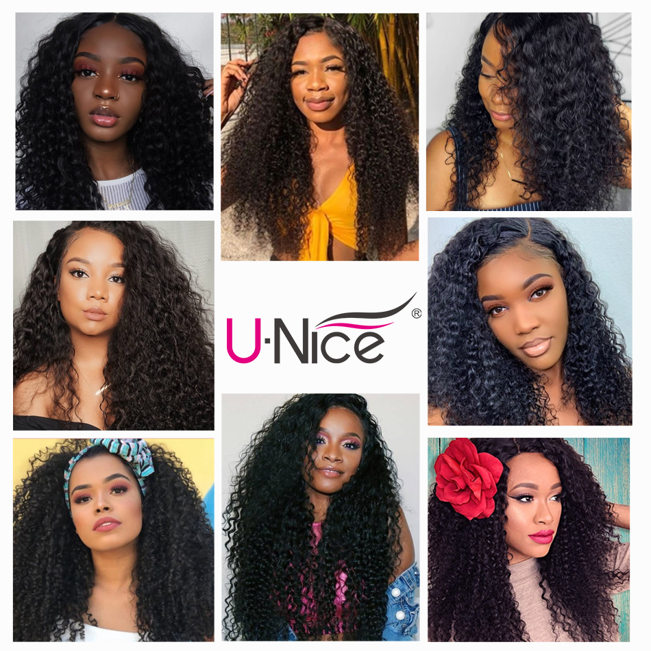 UNice Hair Curly Human Hair With 13x4/6 Transparent Lace Frontal Brazilian Hair Weave Bundles 4/5 PCS Remy Human Hair Extensions