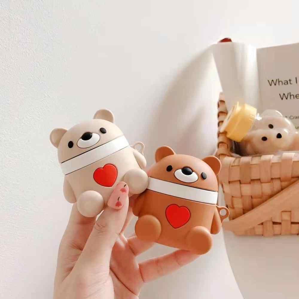 Dla Apple AirPods zestaw słuchawkowy para serce saszetka niedźwiedź 3D Cute Cartoon kalmary bezprzewodowe słuchawki pokrywa dla Airpods 2 słuchawki douszne akcesoria