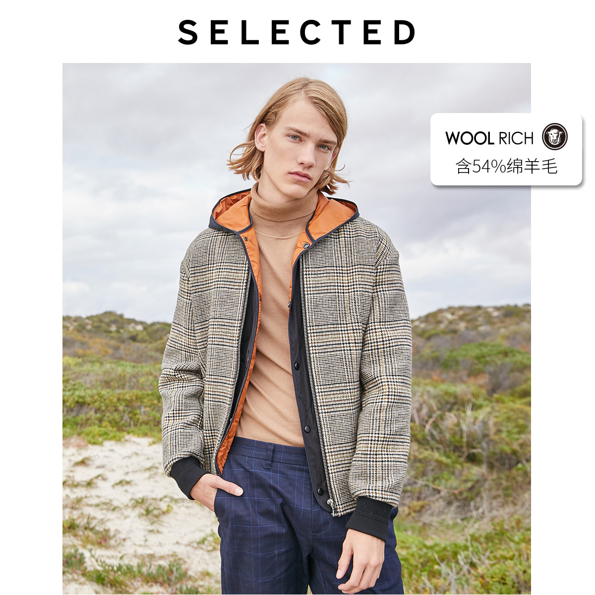 SELECTED Men's Winter 3 in 1 Woolen Checked Cotton Coat S|419427545
