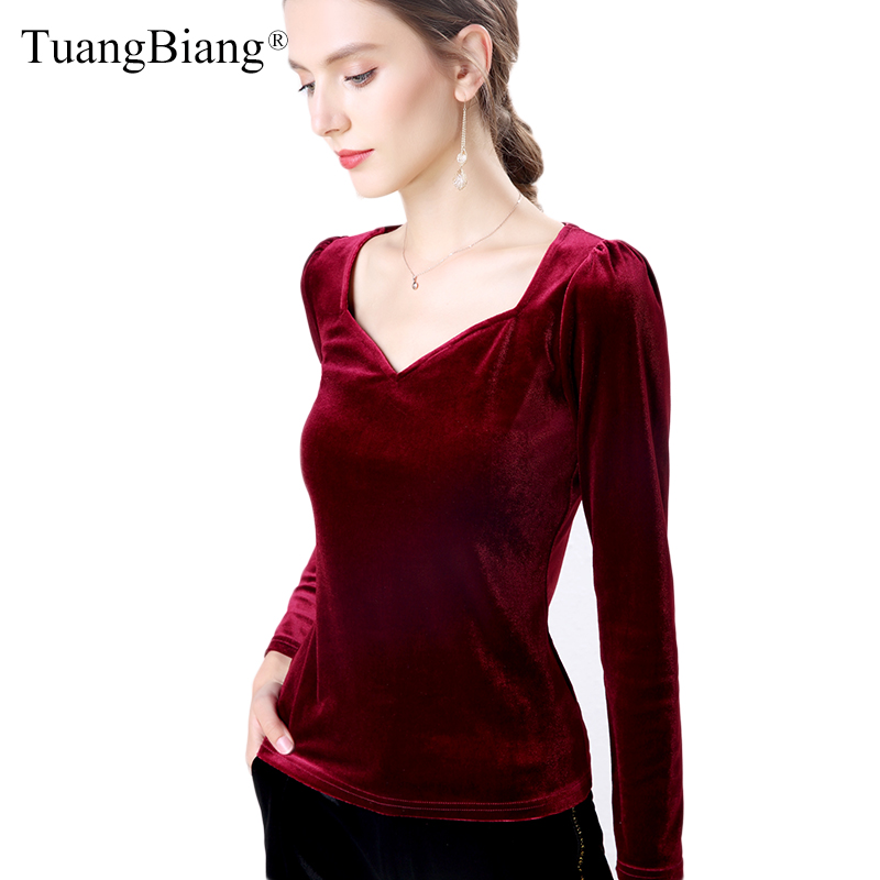 Autumn Long Sleeve Velvet vintage Women T <font><b>Shirts</b></font> 2020 Femme V-Neck Sexy <font><b>Wine</b></font> <font><b>red</b></font> tees Tops Ladies Slim Winter New Black Tshirts image