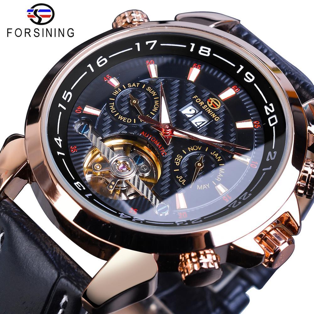 Forsining Rose Golden Tourbillon relojes mecánicos clásico automático esqueleto fecha cuero genuino Reloj masculino Reloj Hombre 2019 Guanqin automático Reloj Mecánico Tourbillon Esqueleto reloj de deporte impermeable reloj automático reloj hombre reloj masculino