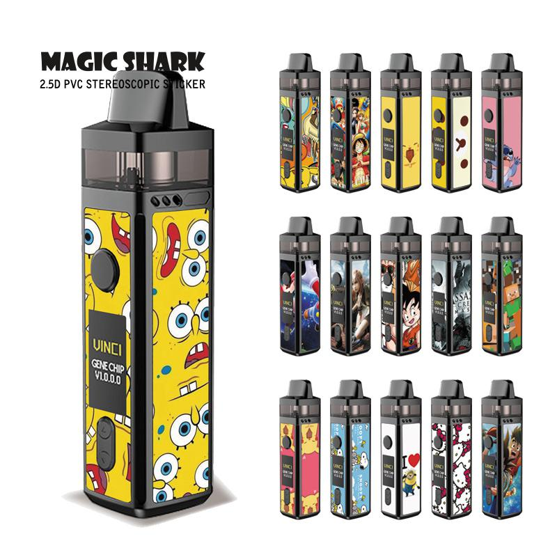 Magic Shark Pikachu Minions Stitch Kitty Final Fantasy Dragon Ball PVC Stereo Sticker Film Case Cover For VOOPOO VINCI Vape