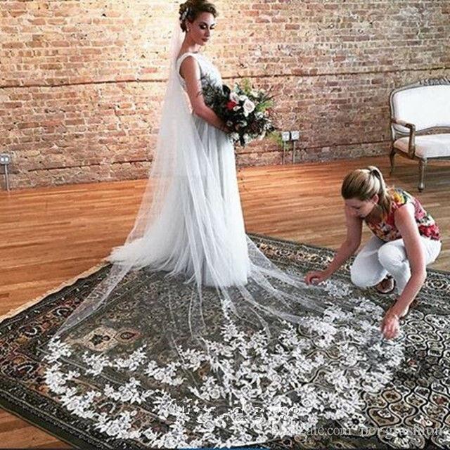 Élégant voile de mariée élégant cathédrale longueur une couche blanc ivoire dentelle Applique bord marque de mariage voiles Meidingqianna
