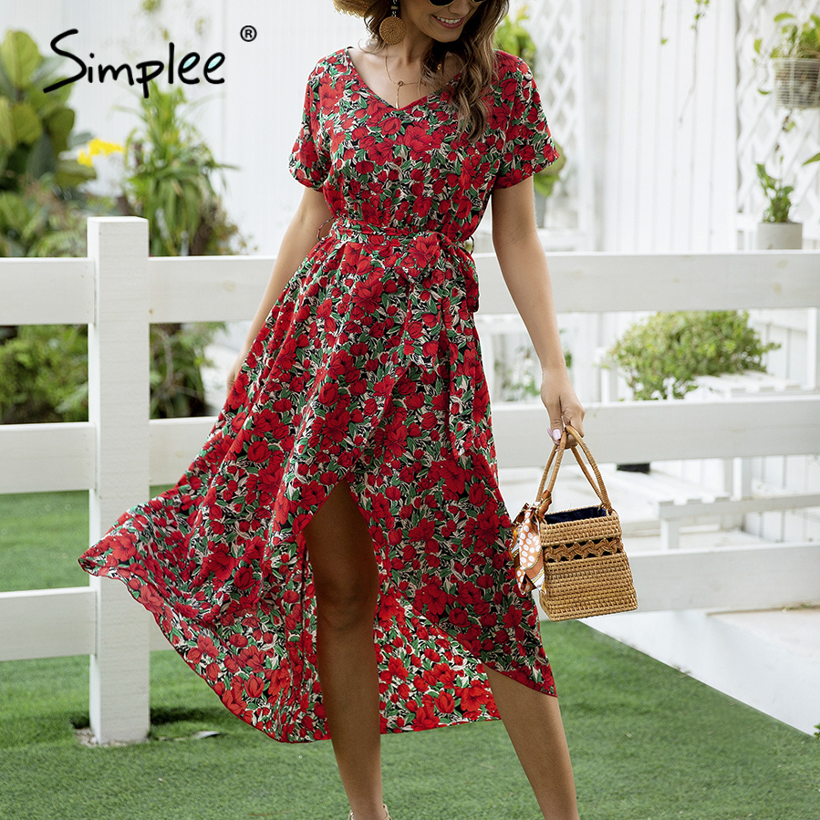 Simplee Floral Print Boho Dress Women V-neck Short Sleeve Vent Holiday Dress Casual Ladies A-line Streetwear Belt Beach Dress