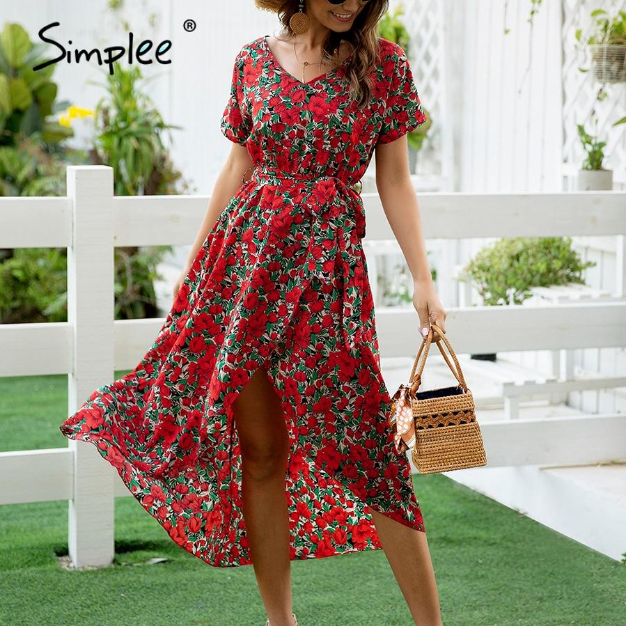 Simplee Floral print boho dress Women v-neck short sleeve vent holiday dress Casual ladies a-line streetwear belt beach dress