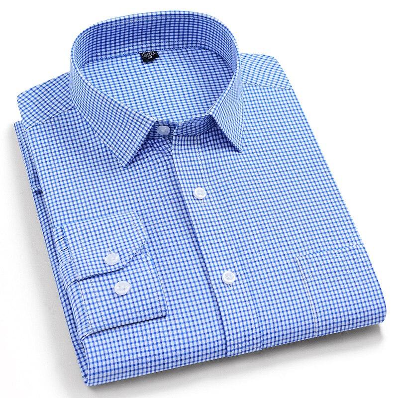 Quality 100% Cotton Plaid Male Smart Casual Shirts Fashion Long Sleeve Turn Down Collar Comfortable Men Apparel