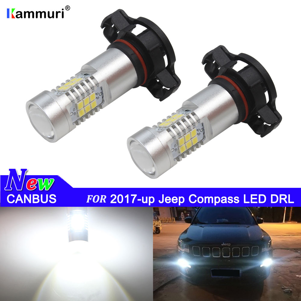 CANBUS Kein Fehler 2504 PSX24W 5202 <font><b>LED</b></font> Driving DRL Tagfahrlicht Lampen Für 2017-up Jeep Kompass <font><b>LED</b></font> DRL Licht Weiß 6000K image