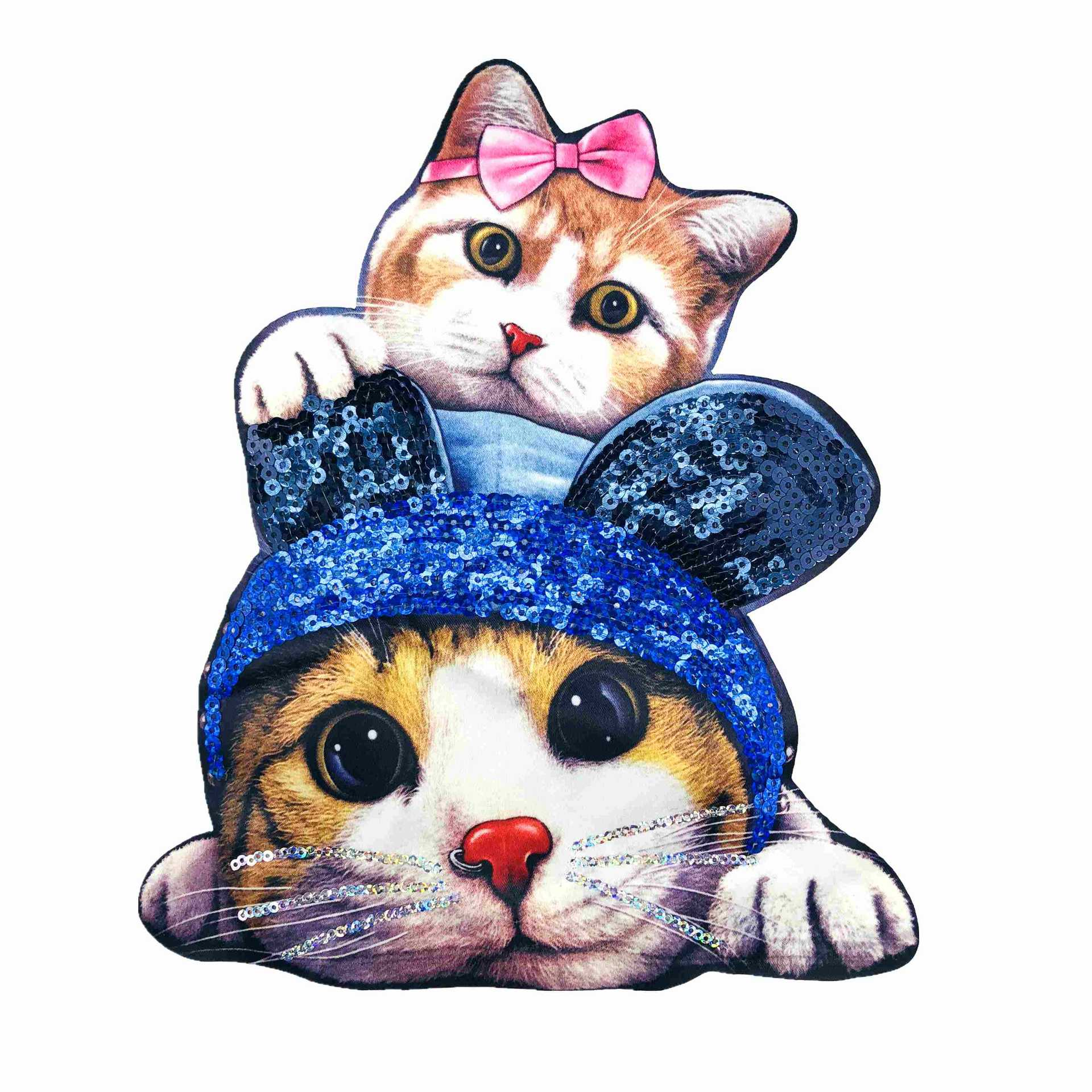 Cat Iron On Embroidered Applique Sewing Patch Clothes Sequined Big Stickers Diy Clothes Accessories
