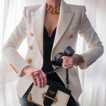 Women's New Solid Color Fashion Sexy Multi Buttons 2020 Summer And Autumn Casual Suit Office Wear Elegant Short Coat FC996 1