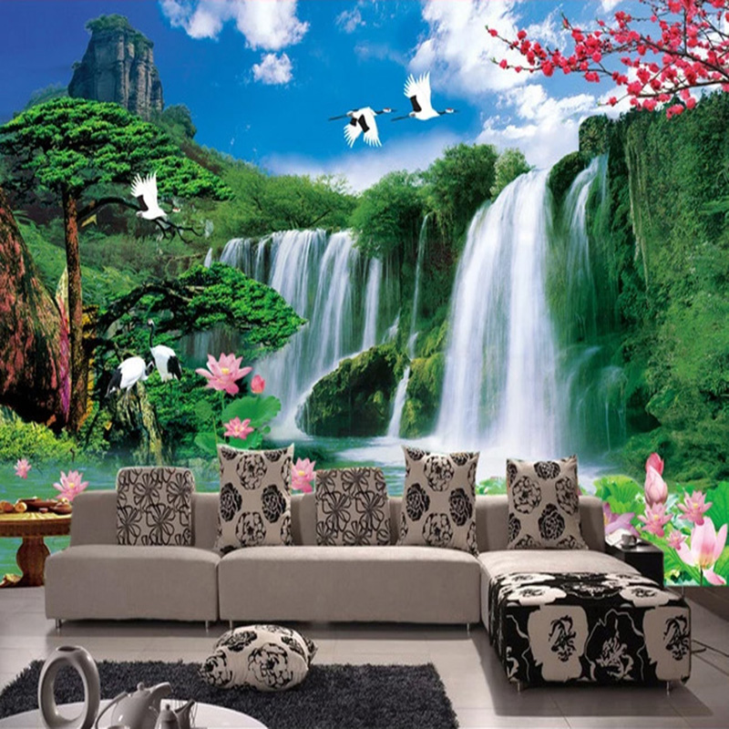 Custom Mural Wallpaper 3D Waterfalls Nature Landscape Fresco Living Room Study Chinese Style Classic Home Decor 3D Wall Painting