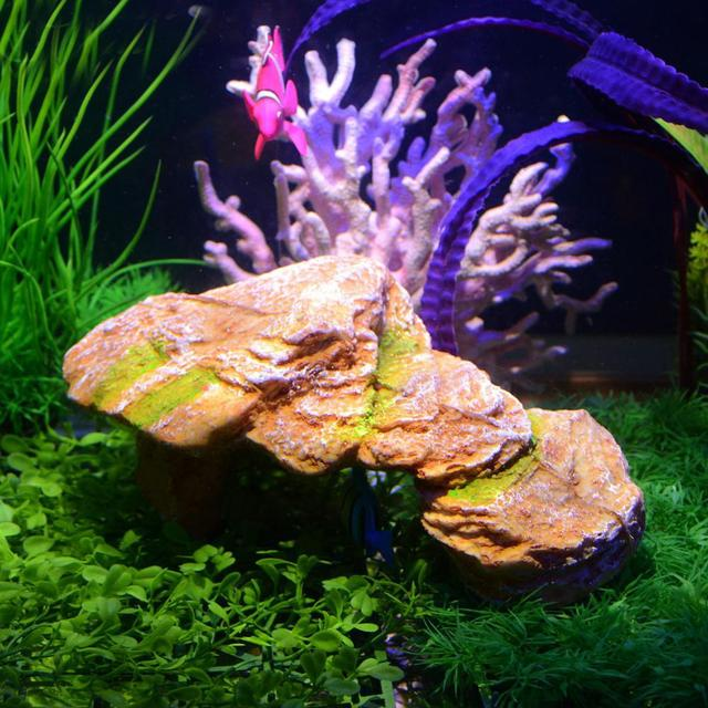 SOLLED Aquarium Resin Rockery Fish Cave Tortoise Bask Platform Landscape Rockery Decoration