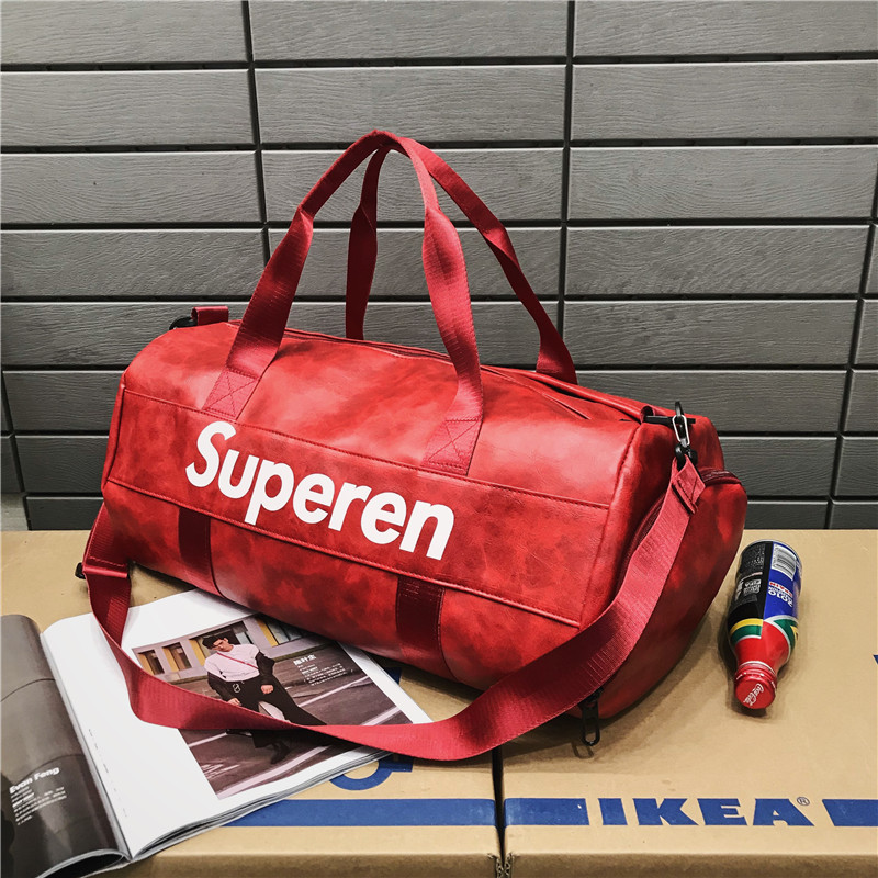 Spring 2019 New PU Leather Travel Bag Korean Version Cool Style Cool Words Outdoor Fitness