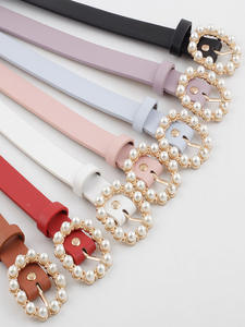 Lady Belt Decoration-Belt Buckle-Pearl-Belt Fashionable Casual Solid PU Round-Needle