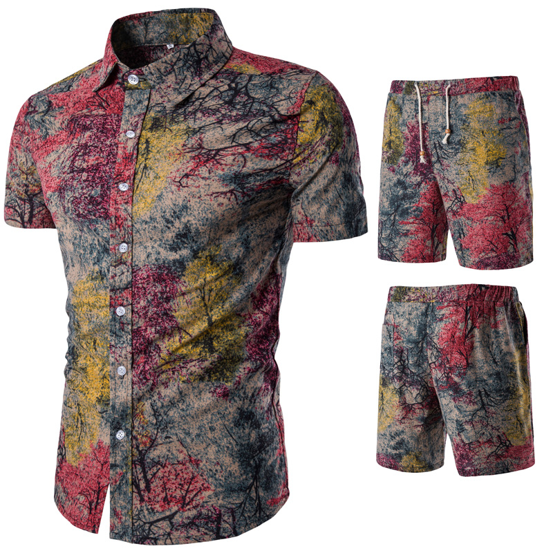 2019 New <font><b>Men</b></font> Vacation Set Tracksuit <font><b>Short</b></font> Pant Ethnic Style Patchwork <font><b>Shorts</b></font> Male <font><b>Suit</b></font> Festival Wear Slim Fit Floral Print Shirt image