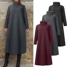 ZANZEA 2021 Vintage sweats Robe femmes printemps Robe d'été décontracté longue sweat à capuche et manches longues Vestidos femme col roulé cou Robe