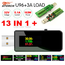 Herramienta digital de medición USB 13 en 1 con pantalla LCD, probador USB, voltímetro digital de CC, amperímetro, detector de nivel de carga de batería externa, U96