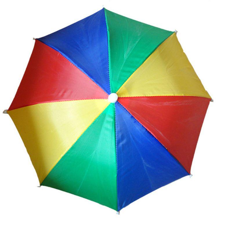 Ladies Mens Adult Multi Colour Festival Essential Umbrella Rain Hat Fancy Dress 72XC
