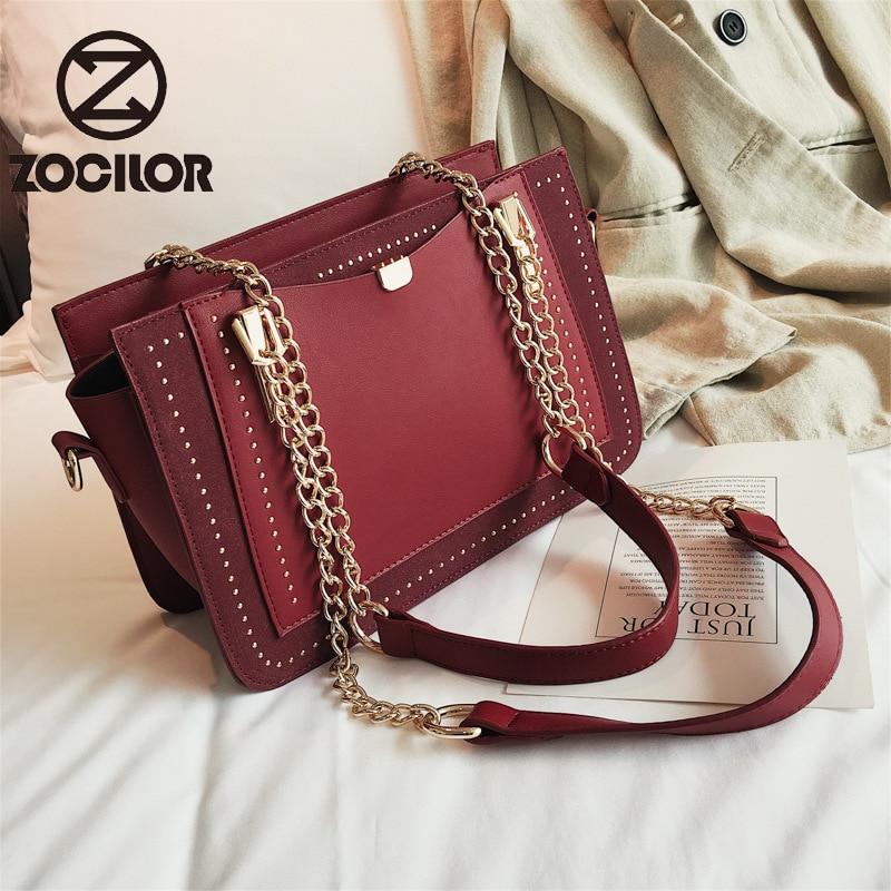 Модная Высококачественная роскошная женская сумка с заклепками, дизайнерская брендовая Сумка-тоут с металлической цепочкой, Повседневные ...