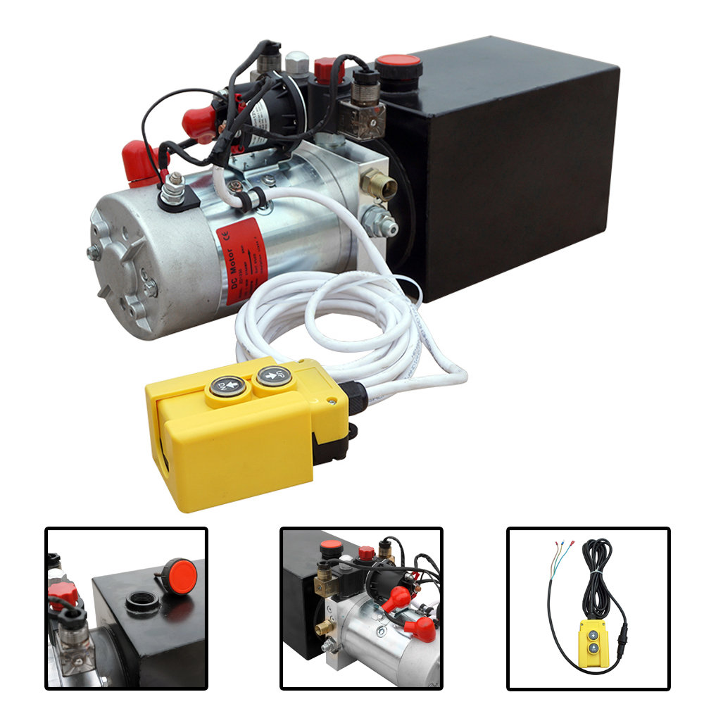 Trailer Pump 12 Quart 12V Electric Hydraulic Power Double Acting Power-Up Supply Unit For Dump Truck UK Stock