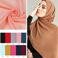 2020 Fashion Solid Chiffon Muslimischen Kopftuch Frauen Instant Hijab Schal Islamischen foulard Tücher und Wraps Kopf Schals kopftuch