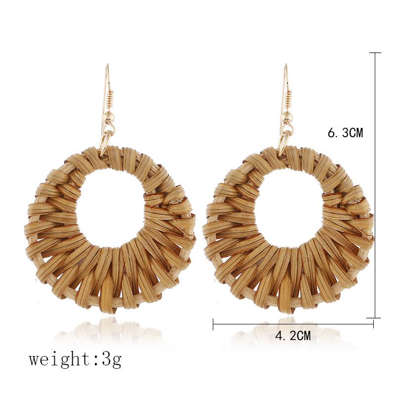 Bohemian Wicker Rattan Knit Pendant Earrings Handmade Wood Vine Weave Geometry Round Statement Long Earrings for Women Jewelry 28