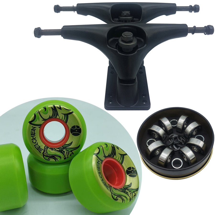 Good Quality Dish 6.25 Inch Surf Skate Longboard Trucks Plus 56mm High Rebound Skateboard Wheels ABEC-11 Skateboard Bearings