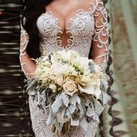 Saudi Arabian Mermaid Wedding Dresses With Sleeves trouwjurk 2020 Sexy Deep V Neck Mermaid Wedding Dress Beads Lace vestido de noiva