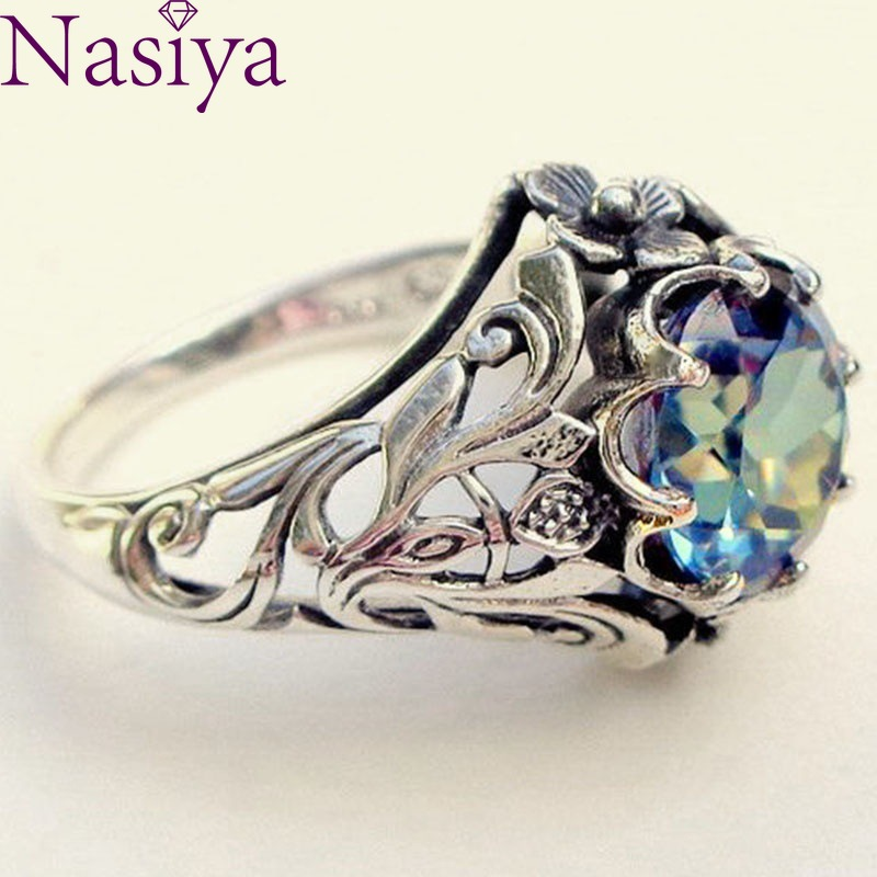 Colorful Hollow out Ring Vintage 925 Silver Fine Jewelry Creative Gemstone Ring For Women|Rings|   - AliExpress