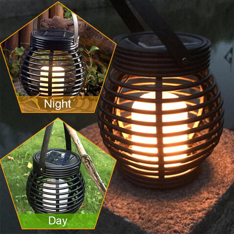 LED Waterproof Solar Powered Candle Lantern Street Lamp Rattan Light For Garden Yard Outdoor Tree Decoration
