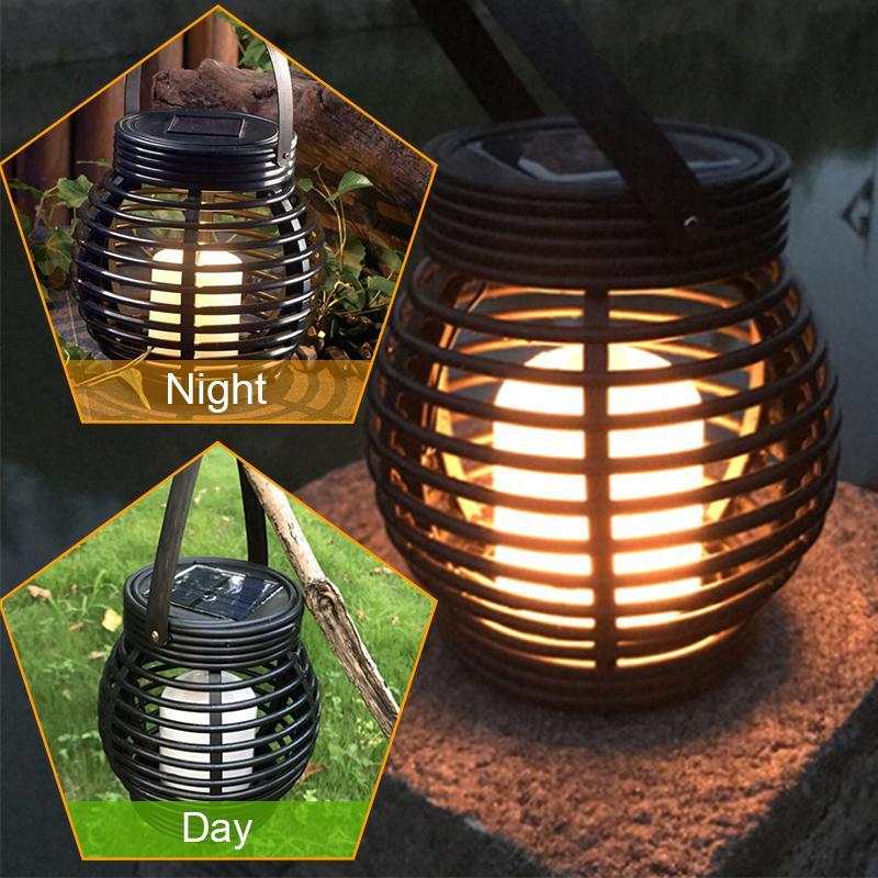 LED Waterproof Solar Powered Candle Lantern Street Lamp Rattan Light for Garden Yard Outdoor Tree Decoration