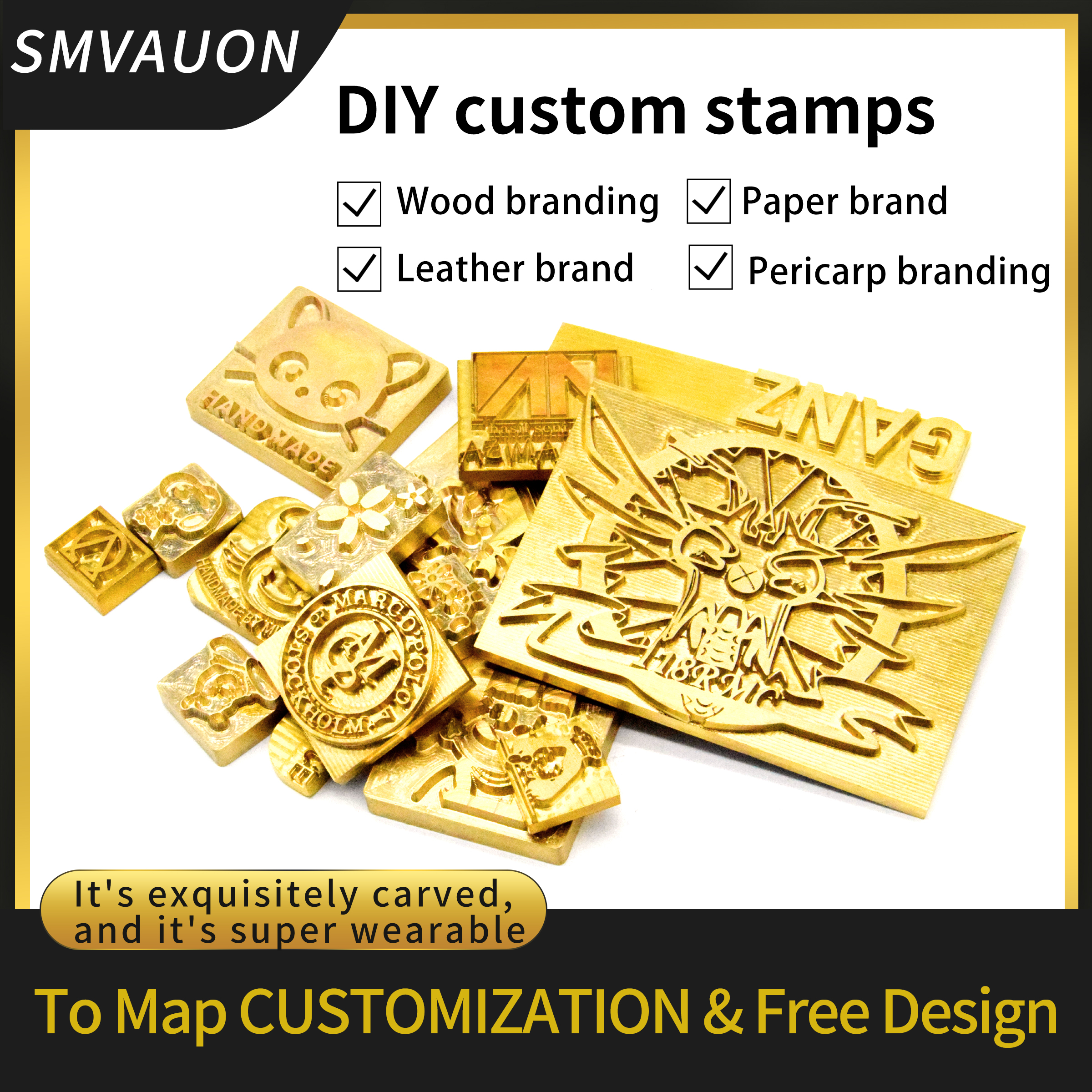 Customized LOGO Leather Stamp Copper Brass Wood Paper Skin Bread Cake Die Heating Emboss Mold Letter Metal Stamp Brand Iron Skin