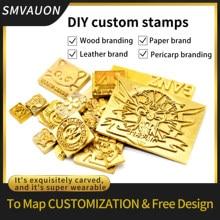 Logotipo personalizado carimbo de couro de cobre bronze madeira bolo de pão da pele morrer aquecimento emboss molde carta carimbo de metal marca pele de ferro