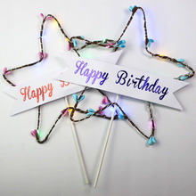 Happy Birthday Cake Topper Star Glitter Star Light Red Blue LED Luminous Cake Card Top Flag Decoration for Birthday Party Toys