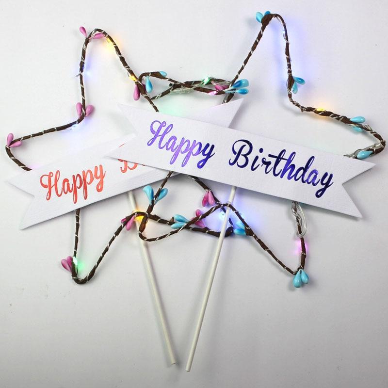 Joyeux anniversaire gâteau Topper étoile paillettes étoile lumière rouge bleu LED lumineux gâteau carte haut drapeau décoration pour fête d'anniversaire jouets