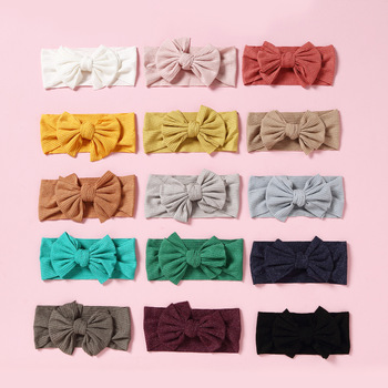 10 Pcs Baby Headband Children Solid Color Stretch Knitted Bows Headbands Bebes Bow Knotted Head Wrap Girls Hair Accessories - discount item  20% OFF Kids Accessories