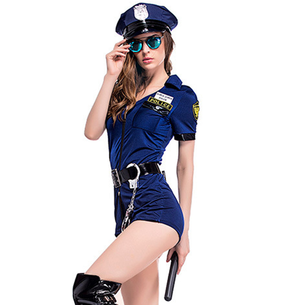 Women Police Officer Fancy Romper Halloween Costume Cop Outfit Party Cosplay