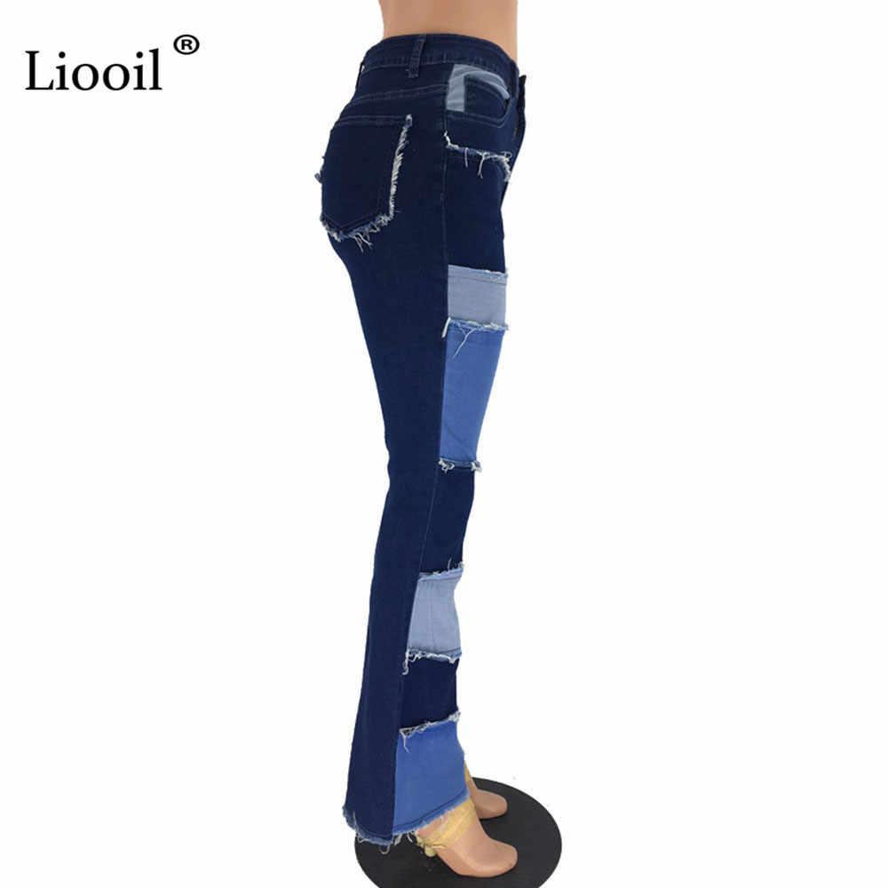 Liooil renk bloğu yüksek bel Flare kot cepler 2020 Streetwear seksi bayanlar pantolon çan dipleri Skinny Denim Jean pantolon