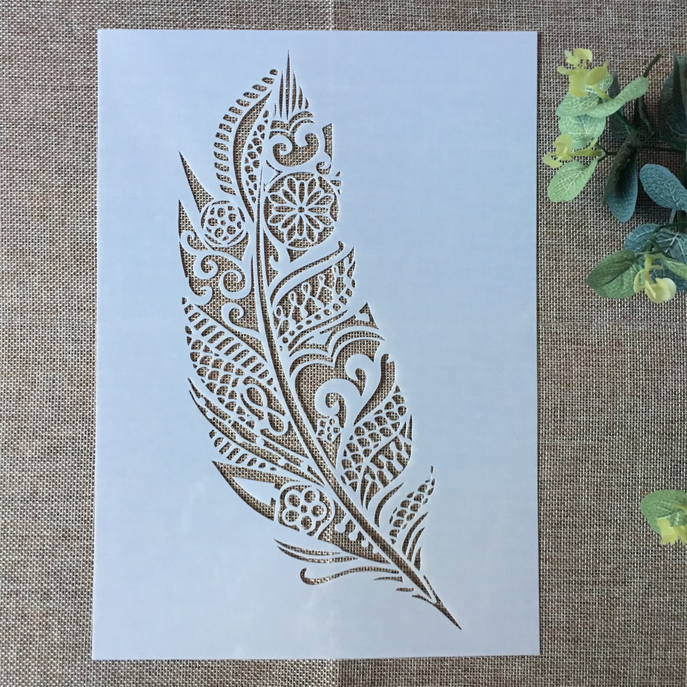 29*21cm Big Feather DIY Layering Stencils Wall Painting Scrapbook Coloring Embossing Album Decorative Paper Card Template