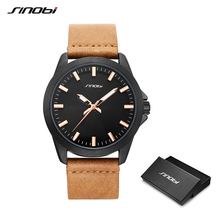 SINOBI Fashion Casual Mens Sports Watches Man Brown Leather Quartz Wrist Watch Men's Luxury Brand Watches Luminous Numbers Clock стоимость