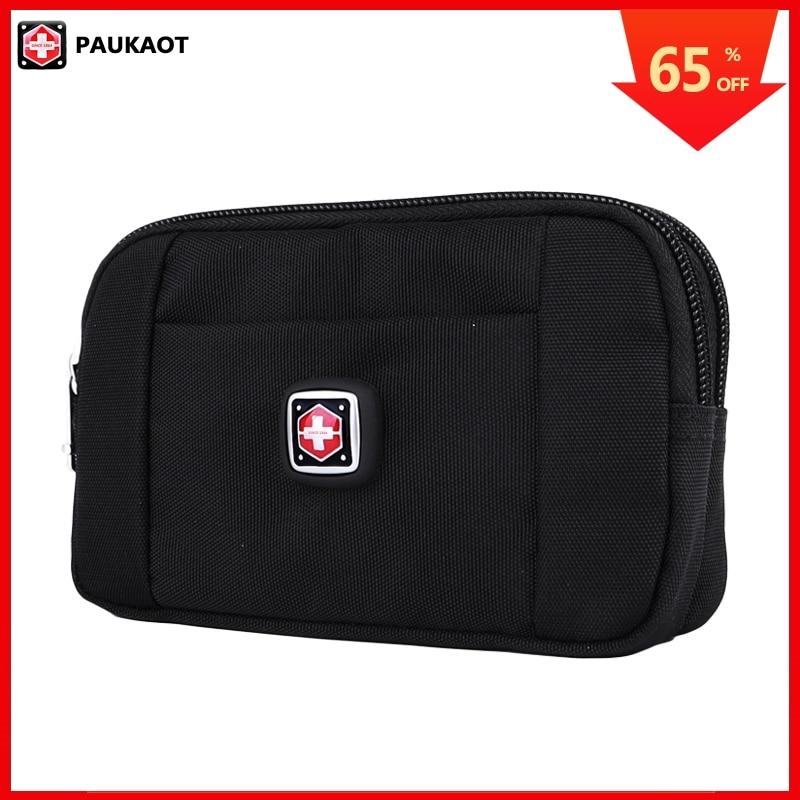 PAUKAOT Phone Pouch Purse Horizontal Bum Hip Belt Bag Small Waist Pack Travel Fanny Packs Waterproof For Men Black Pockets