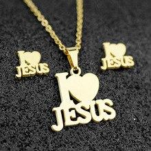 2020 Stainless Steel Jesus Cross Fashion Men Charm Metal Pendant Necklace Jewelry Set Chain Christian Symbol Jewelry Making