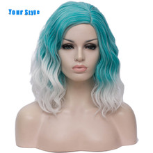 цена Your Style 6 Colors Synthetic Short Curly Cosplay Wigs For Women Ombre Pink Blue Green White Synthetic  High Temperature Fiber