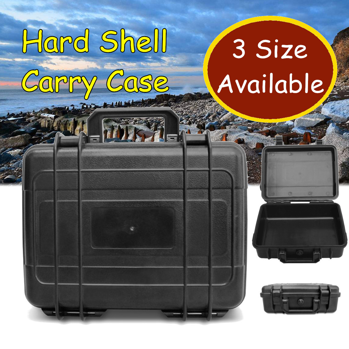 Waterproof Hard Carry Tool Case Plastic Toolbox Equipment Protective Storage Box Organizer Portable Container Black 3 Sizes Tool Cases     - title=