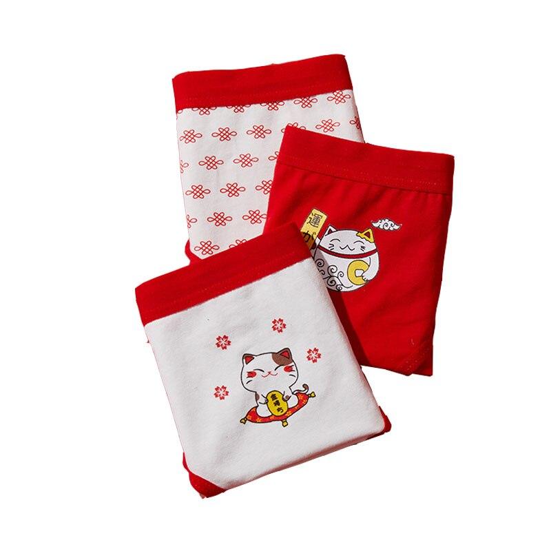 New Sale Underwear Children's Cute Cat Print Comfortable Middle Waist Cotton Crotch Seamless Red Short Briefs