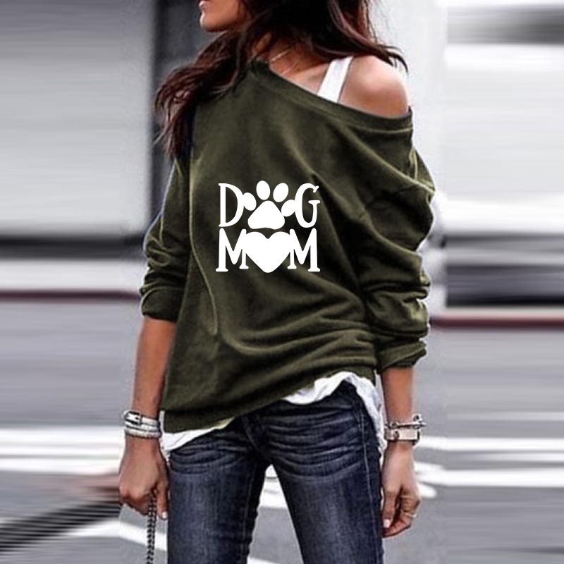 2019 New Fashion DOG MOM Print Kawaii Sweatshirts Hoodies Women Tops Clothes Corduroy Frauen Funny Pullovers Off Shoulder Tops
