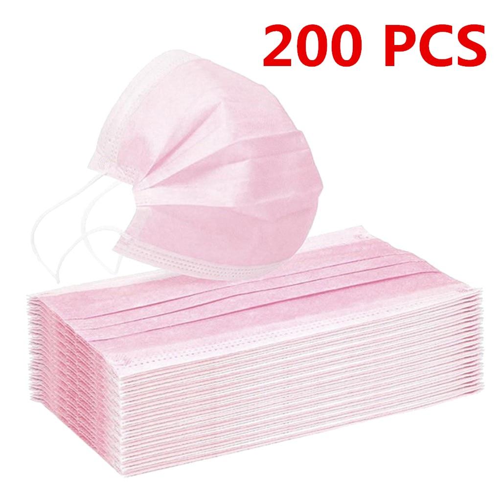 10/200 шт. Для женщин человек сплошной маска одноразовая маска для лица 3Ply петли уха Anti-PM2.5 маска одноразовая Защитная крышка розовый Mascarillas